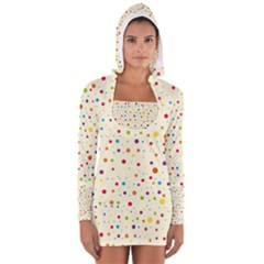 Colorful Dots Pattern Women s Long Sleeve Hooded T-shirt