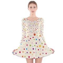 Colorful Dots Pattern Long Sleeve Velvet Skater Dress