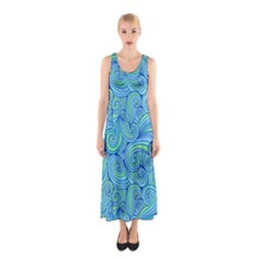 Abstract Blue Wave Pattern Full Print Maxi Dress