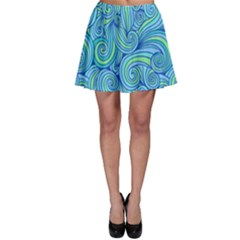Abstract Blue Wave Pattern Skater Skirt