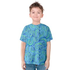 Abstract Blue Wave Pattern Kid s Cotton Tee