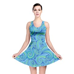 Abstract Blue Wave Pattern Reversible Skater Dress