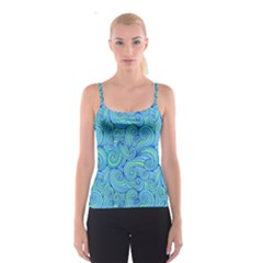 Abstract Blue Wave Pattern Spaghetti Strap Top