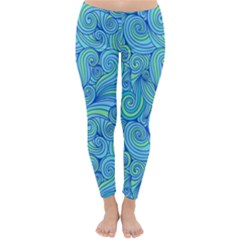 Abstract Blue Wave Pattern Winter Leggings
