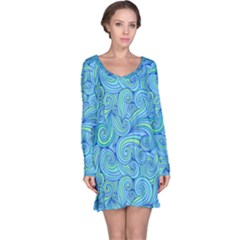 Abstract Blue Wave Pattern Long Sleeve Nightdress