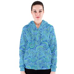 Abstract Blue Wave Pattern Women s Zipper Hoodie