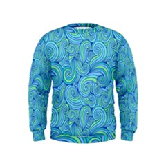 Abstract Blue Wave Pattern Kids  Sweatshirt