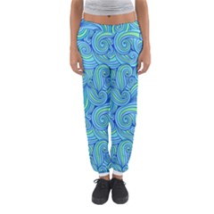 Abstract Blue Wave Pattern Women s Jogger Sweatpants