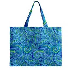 Abstract Blue Wave Pattern Zipper Mini Tote Bag