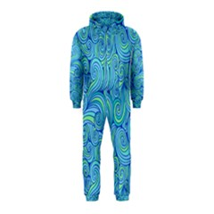 Abstract Blue Wave Pattern Hooded Jumpsuit (kids)