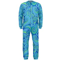 Abstract Blue Wave Pattern Onepiece Jumpsuit (men)