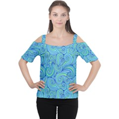Abstract Blue Wave Pattern Women s Cutout Shoulder Tee