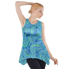 Abstract Blue Wave Pattern Side Drop Tank Tunic