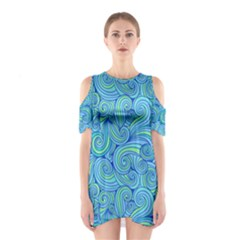 Abstract Blue Wave Pattern Cutout Shoulder Dress