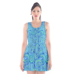 Abstract Blue Wave Pattern Scoop Neck Skater Dress