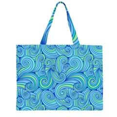 Abstract Blue Wave Pattern Large Tote Bag
