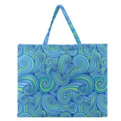 Abstract Blue Wave Pattern Zipper Large Tote Bag