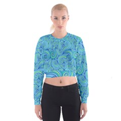 Abstract Blue Wave Pattern Women s Cropped Sweatshirt