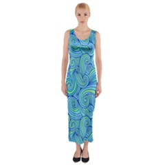 Abstract Blue Wave Pattern Fitted Maxi Dress