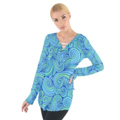 Abstract Blue Wave Pattern Women s Tie Up Tee
