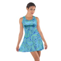 Abstract Blue Wave Pattern Racerback Dresses