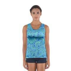 Abstract Blue Wave Pattern Tops