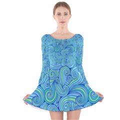 Abstract Blue Wave Pattern Long Sleeve Velvet Skater Dress