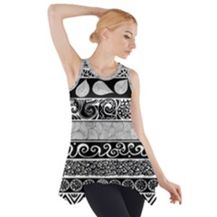 Vintage Grey And Black Tribal Print Side Drop Tank Tunic