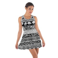 Vintage Grey And Black Tribal Print Racerback Dresses