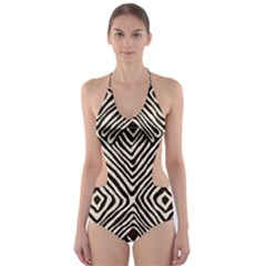 African Mud Cloth Print Cut-Out One Piece Swimsuit
