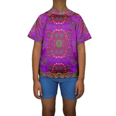 Steam Punk And Fauna In A Global Gathering Kid s Short Sleeve Swimwear