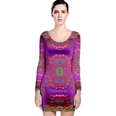 Steam Punk And Fauna In A Global Gathering Long Sleeve Bodycon Dress