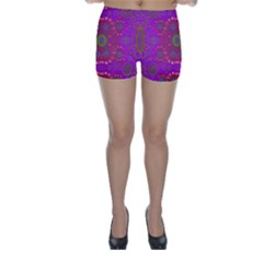 Steam Punk And Fauna In A Global Gathering Skinny Shorts