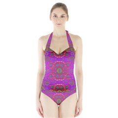 Steam Punk And Fauna In A Global Gathering Women s Halter One Piece Swimsuit