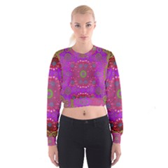 Steam Punk And Fauna In A Global Gathering Women s Cropped Sweatshirt
