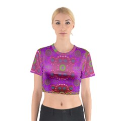 Steam Punk And Fauna In A Global Gathering Cotton Crop Top