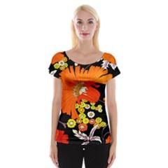 70s Flower Print Women s Cap Sleeve Top