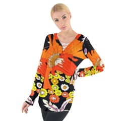 70s Flower Print Women s Tie Up Tee