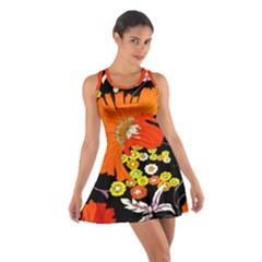 70s Flower Print Racerback Dresses