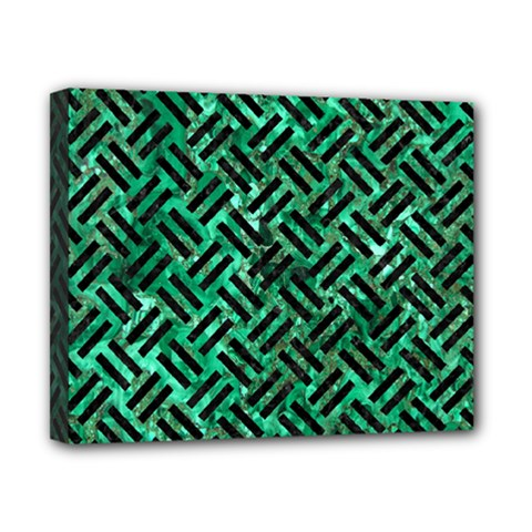 Woven2 Black Marble & Green Marble (r) Canvas 10  X 8  (stretched)