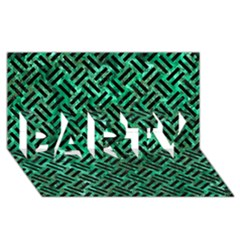Woven2 Black Marble & Green Marble (r) Party 3d Greeting Card (8x4)