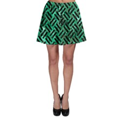 Woven2 Black Marble & Green Marble (r) Skater Skirt
