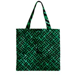 Woven2 Black Marble & Green Marble (r) Zipper Grocery Tote Bag