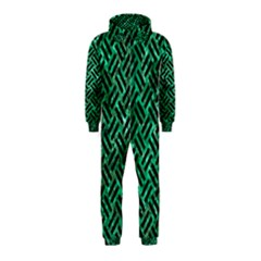 Woven2 Black Marble & Green Marble (r) Hooded Jumpsuit (kids)
