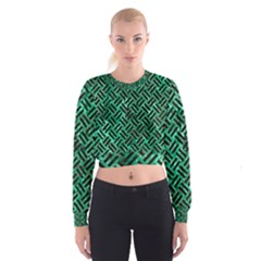 Woven2 Black Marble & Green Marble (r) Cropped Sweatshirt