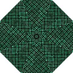 Woven2 Black Marble & Green Marble Folding Umbrella