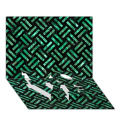 Woven2 Black Marble & Green Marble Love Bottom 3d Greeting Card (7x5)