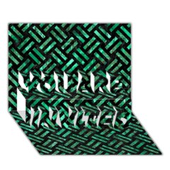 Woven2 Black Marble & Green Marble You Are Invited 3d Greeting Card (7x5)
