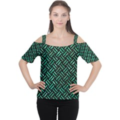 Woven2 Black Marble & Green Marble Cutout Shoulder Tee