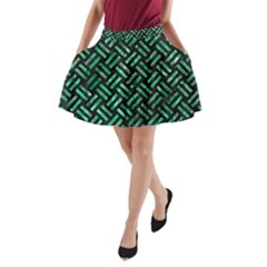 Woven2 Black Marble & Green Marble A Line Pocket Skirt
